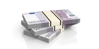 3d rendering 500 euro banknotes stacks. On white background Royalty Free Stock Photo