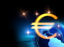 3d rendering of euro and european union sign. On blue technology background Stock Image