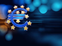 3d rendering of euro and european union sign. On blue technology background Stock Photo