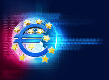 3d rendering of euro and european union sign. On blue technology background Royalty Free Stock Photo