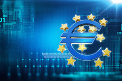3d rendering of euro and european union sign. On blue technology background Stock Photos