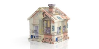 3d rendering 50 euro house on white background Stock Images