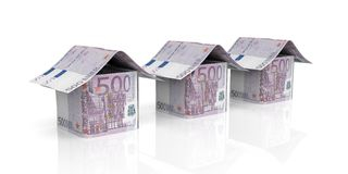 3d rendering euro houses on white background. 3d rendering 500 euro houses on white background Stock Photos