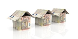 3d rendering euro houses on white background Royalty Free Stock Photography