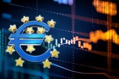 3d rendering euro i europejski zjednoczenie podpisujemy Zdjęcie Stock