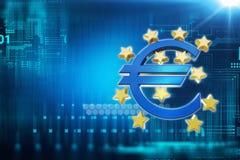 3d rendering euro i europejski zjednoczenie podpisujemy Zdjęcia Stock