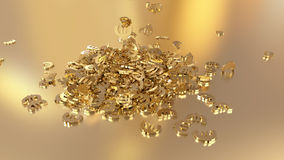 3d rendering of euro signs gathering in a heap. Option in white gold style Royalty Free Stock Photo