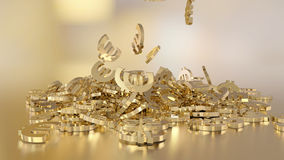 3d rendering of euro signs gathering in a heap. Option in white gold style. 3d rendering of falling signs of euro stock illustration