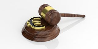 3d rendering euro symbol and an auction gavel Royalty Free Stock Photo