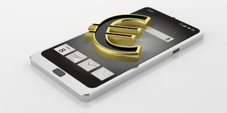 3d rendering euro symbol on a smartphone Stock Photos