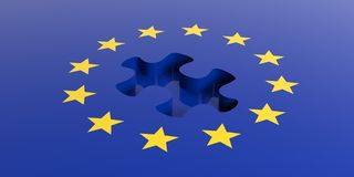 3d rendering european union flag, missing piece Royalty Free Stock Images