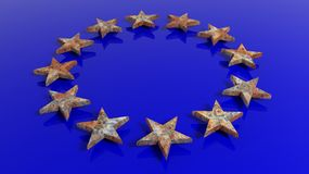 3D rendering of European Union flag with rusty stars Stock Image
