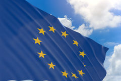 3D rendering of European Union flag waving on blue sky Stock Photo