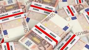 3D rendering of 50 Euros banknote bundles pile Royalty Free Stock Photos