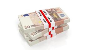 3D rendering of 50 Euros banknote bundles stack Royalty Free Stock Photo
