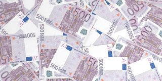3d rendering 500 euros banknotes. Background Royalty Free Stock Image