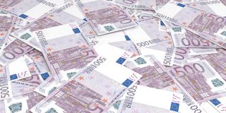 3d rendering 500 euros banknotes. Background Stock Image