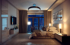 3D rendering evening bedroom house in the forest. 3D rendering evening cozy bedroom in the modern house. Huge bed with numerous pillows is dominates the room stock illustration