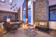 3D rendering of evening living room of chalet. 3D rendering of cozy living room on cold winter night in the mountains, evening interior of chalet decorated with royalty free stock photography