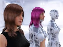 3D rendering of the evolution of female robots. 3D rendering of three women in different stages of the evolution of robots. Robot technology concept royalty free illustration