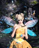 A fairies in magical forest. 3d rendering of a fairies in magical forest vector illustration