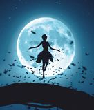 Fairy flying in a magical night surrounded by flock butterflies in moonlight. 3d rendering of a fairy flying in a magical night surrounded by flock butterflies vector illustration