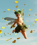 A fairy flying on the sky. 3d rendering of a fairy flying on the sky surrounded by flock butterflies vector illustration