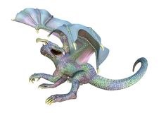 3D Rendering Fairy Tale Dragon on White. 3D rendering of a fantasy dragon isolated on white background Stock Images