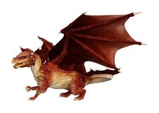 3D Rendering Fairy Tale Dragon on White royalty free stock photos