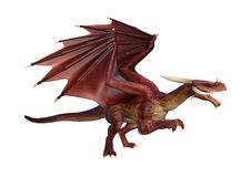 3D Rendering Fairy Tale Dragon on White Stock Image