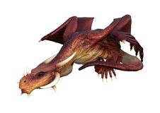 3D Rendering Fairy Tale Dragon on White. 3D rendering of a red fairy tale dragon isolated on white background Stock Photos