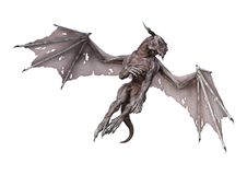 3D Rendering Fantasy Vampire Dragon on White Royalty Free Stock Images