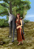 3D Rendering Fairy and Unicorn. 3D rendering of a beautiful fairy with a fairytale unicor in the fantasy forest royalty free illustration
