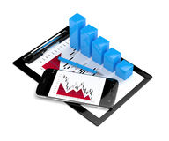 3d rendering of falling chart with mobile phone and clipboard Royalty Free Stock Images