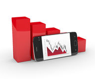 3d rendering of falling chart with mobile phone Stock Images