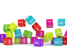 3D rendering of falling cubes with discount sign. Over white royalty free illustration