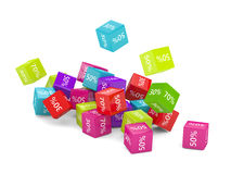3D rendering of falling cubes with discount sign. Over white stock illustration