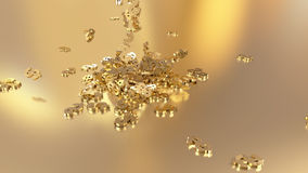 3d rendering of falling signs of dollars. Option in white gold style Royalty Free Stock Images