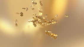 3d rendering of falling signs of dollars.Option in white gold style Royalty Free Stock Images