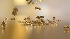 3d rendering of falling signs of dollars. Royalty Free Stock Image