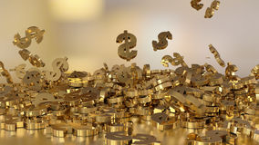 3d rendering of falling signs of dollars. Stock Images