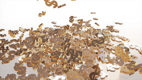 3d rendering of falling signs of dollars. Royalty Free Stock Images