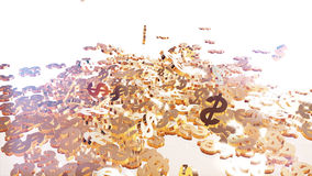 3d rendering of falling signs of dollars. Royalty Free Stock Photography