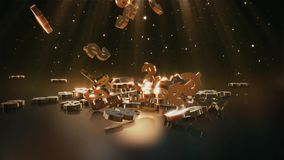 3d rendering of falling signs of dollars with top volumetric light. stock video footage