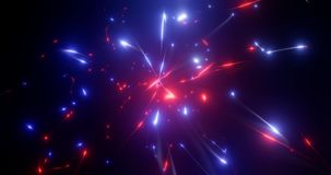 3d rendering. Fantastic background of bright glowing particles in deep space. Bright electric flashes Stock Photo