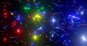 3d rendering. Fantastic background of bright glowing particles in deep space. Bright electric flashes Royalty Free Stock Images
