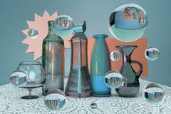 3d rendering of fantastical futuristic glass still life with bottle, jar, vase, wine glass and bubbles on lace tablecloth stock images