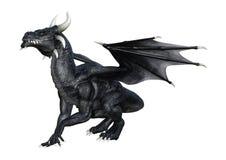 3D Rendering Fantasy Black Dragon on White. 3D rendering of a fantasy black dragon isolated on white background royalty free illustration
