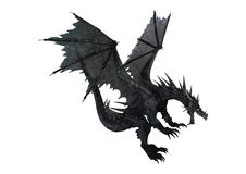 3D Rendering Fantasy Black Dragon on White. 3D rendering of a fantasy black dragon isolated on white background stock illustration