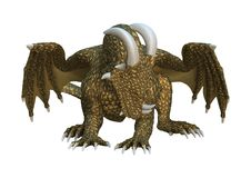 3D Rendering Fantasy Dragon on White Royalty Free Stock Image